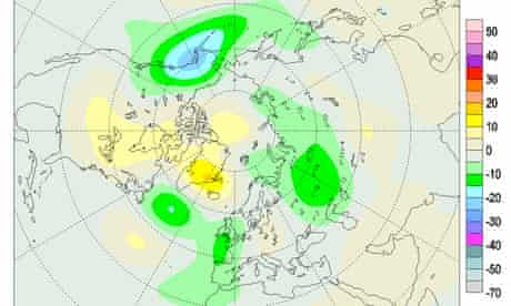 Total Ozone Map of deviations over the Arctic and Canada