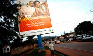 MDG : AIDS (HIV) prevention in Uganda : billboard in the outskirts of Kampala