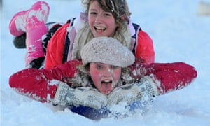 David Bond on the great outdoors activities : sledge downhill at the Town Moor in Newcastle