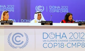 Christiana Figueres and Abdullah bin Hamad Al-Attiyah (C) President of the cop18 Doha