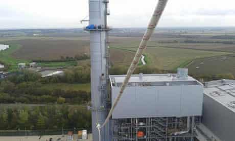 No Dash for Gas activists on top of one of the chemneys at West Burton Power Station