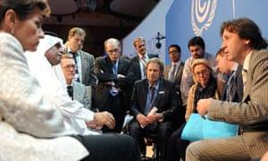 COP18 Doha :  President Abdullah bin Hamad Al-Attiyah with Russia, Ukraine and Belarus delegates