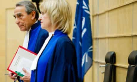 MDG : ICC at the Hague : Presiding Judge Cotte and Judge Van Den Wyngaert at Ngudjolo Chui trial