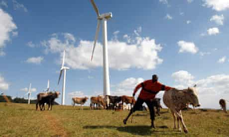 MDG : Green policy: Wind turbines at Ngong hills Kenya Electricity Generating Company station