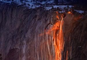 Horsetail Fall in Yosemite National Park in California