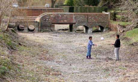River dried up due to drought in Lavant, West Sussex