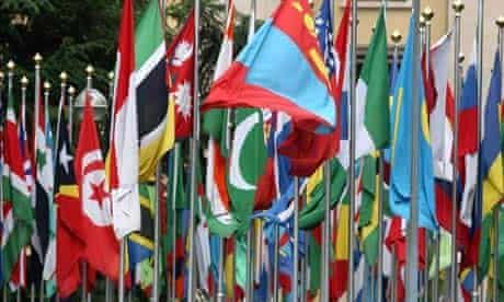 MDG : Multilaterism : flags in front of the United Nations Office