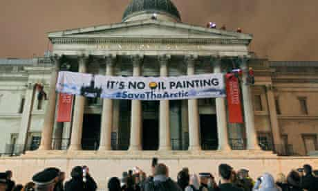 Greenpeace banner in protest at oil firm Shell that plans drilling for oil in the Arctic region