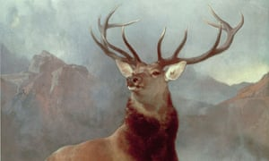 Monarch of the Glen by Sir Edwin Henry Landseer, a red deeer stag in Scotland