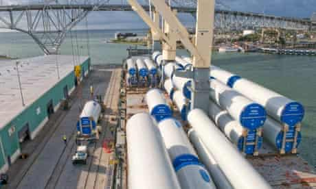Gamesa wind turbine tower sections are unloaded in the Port of Corpus Christi, Texas