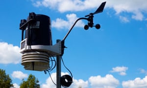 A weather station that records rainfall, temperatures, wind speed