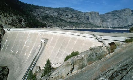 The O'Shaughnessy Dam, which creates the Hetch Hetchy Reservoir, Yosemite National Park, California