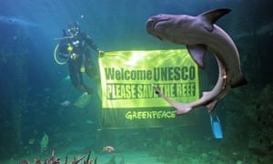 Greenpeace banner urging UNESCO to save the Great Barrier Reef, at the Sydney Aquarium , Australia
