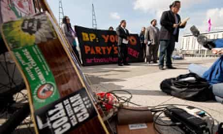 Protest outside  BP annual general meeting