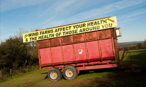 Anti wind turbine : Banner slogan on trailer protesting against windfarms in Carmarthenshire
