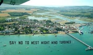 Anti wind turbine : Aerial protest against windfarm