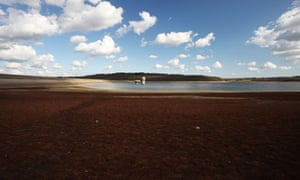 Drought at Bewl water reservoir in Lamberhurst, Kent