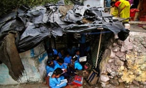 MDG : Education : Young Indian children study at an open air school