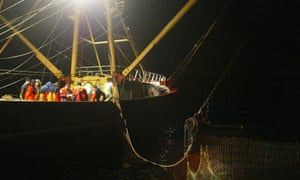 EU Fishing Control :  European Official Control Inspectors control fishing vessels in the North Sea