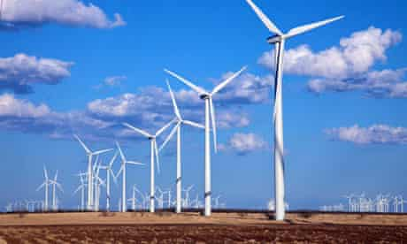 Wind energy : Wind turbines generating electricity at Horse Hollow Wind Farm Nolan, West Texas