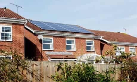 Solar energy House with solar panels, Hedge End, Southampton.