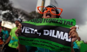 Brazil new forest code and President Dilma Rousseff veto : Students protest i