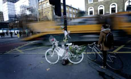 Bike blog : dangerous drivers, accident and speed : White ghost bicycle, Kings Cross, London