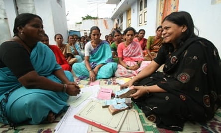 MDG : A Microfinance Group at a meeting in Hyderabad Slum in Andhra Pradesh, India