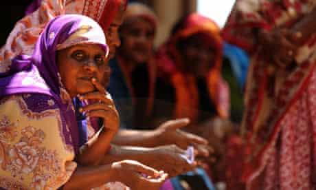 MDG : Sri Lanka Tamil women look on in the northeastern town of Mullaittivu