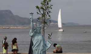 Statue of Liberty is seen during the People's Summit at Rio+20