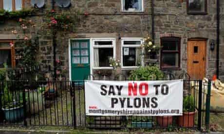 Anti pylon banner near Meifod, Wales.