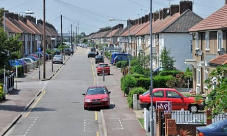Typical street with paved front garden on the Becontree estate