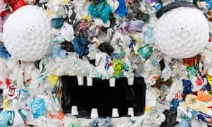 """""""Plastic Bag Monster"""" is displayed outside the European Commission headquarters in Brussels"""