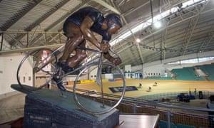Bike Blog : Reg Harris statue at Manchester's Velodrome