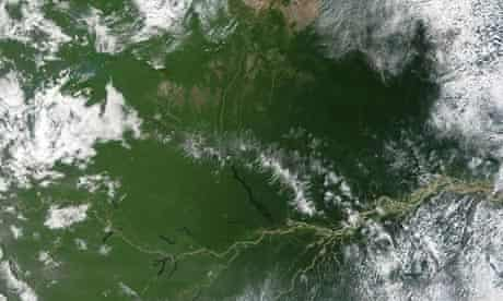 Amazon river in Amazon forest deforestation Brazil