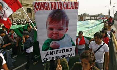 MDG : Mining in Peru : protest against the Conga mining project of US corporation Newmont, in Lima