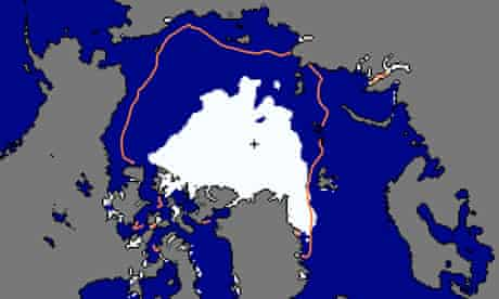 Arctic sea ice minimum map by US National Snow & Ice Data Center