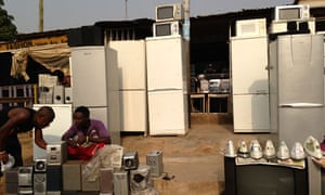 MDG : Ghana : Second-hand fridges shop at City Waste in suburb of Accra
