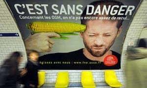 Advert against genetically modified , GM , in Paris, France
