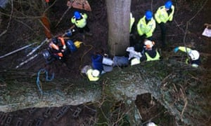 Road protest eviction in Combe Haven Valley along the route of the Bexhill-Hastings Link Road