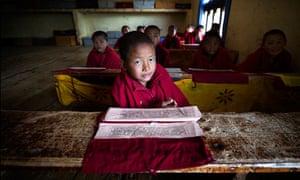 MDG : Bhutan : Child monk at monastic school in Bhutan