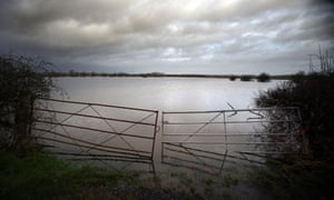 fields covered in flood waters  on the Somerset Levels