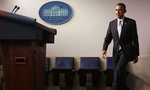 President Barack Obama arrives at announcement in the Brady Press Briefing Room at the White House