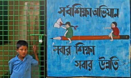 MDG : Private school funding : Boy at a non-governmental school in Westbengalia, India