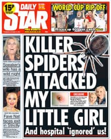Daily Star front page featuring a False Widow Spider (Steatoda nobilis) attack