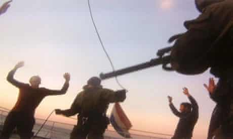 Russian Security on Greenpeace Arctic Sunrise during protest against Gazprom oil platform