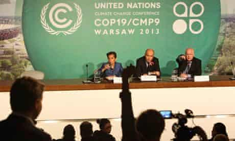 COP19 in Warsaw : Christiana Figueres, Marcin Korolec and Eric Hall , UN Climate Change Conference