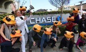 Reverend Billy and the Golden Toads invade JPMorgan Chase Bank in San Francisco