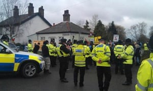 IGas' Barton Moss entrance during anti-fracking protest at Eccles, near Salford, Manchester