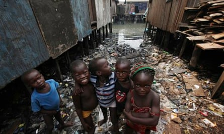 MDG : Africa and poverty : , children pose for a picture, in the Makoko slum of Lagos